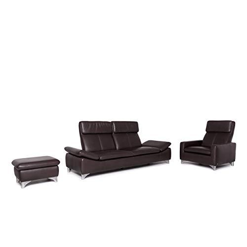 Willi Schillig leather sofa set 1x three-seater 1x armchair 1x stool