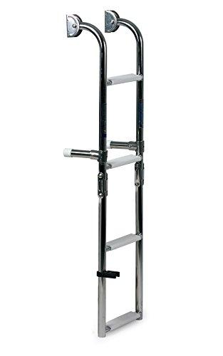 wellenshop Badeleiter Bootsleiter 4 Stufen klappbar Länge 90 cm Edelstahl