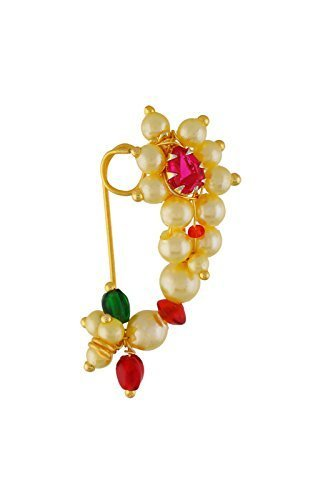 Tejas immitation jewellery Traditional Maharashtrian without Pierced Nath Nose Ring Pink Colour Stone For Women- Medium size