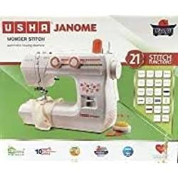 Usha Janome Plastic Electric Sewing Machine With Hard Cover (Multicolour)
