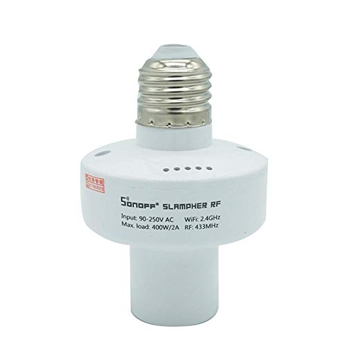 TEEPAO Sonoff Slampher E27WiFi 433MHz lampadine Luce Supporto WiFi Smart Switch Smart Porta Lampada Portatile Non necessita Hub, Lavoro con Assistente Alexa & Google Home & Ifttt