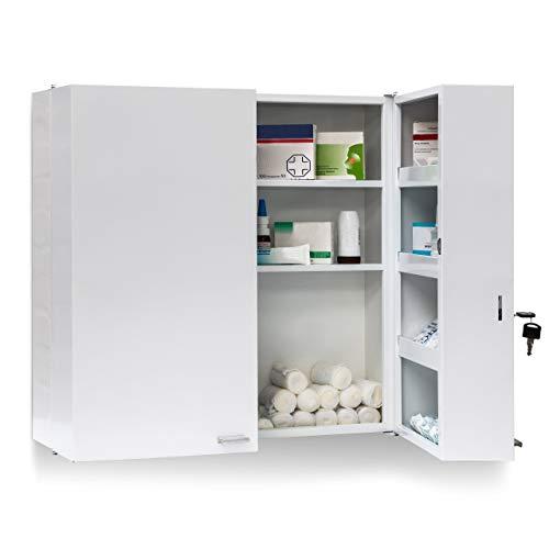 Relaxdays Armadio Porta Farmaci da Muro, 11 ripiani , Metallo, 53 X 53 X 20 cm, Bianco