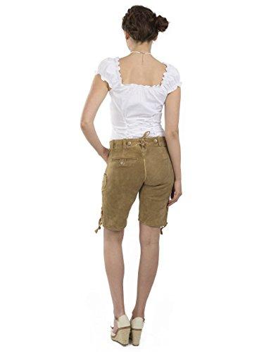 Damen Wiesnzauber Trachtenlederhose - mittellange Trachten Lederhosen - Lederhose Alternative zum Dirndl - sexy Hose Trachtenhose (34, Hellbraun) - 5