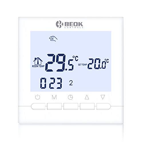 Beok BOT-313W Thermostat a Pile Filaire Thermostat programmable intelligent pour chauffage de chaudières à gaz - Alimenté Par Batterie, Rétroéclairage Blanc