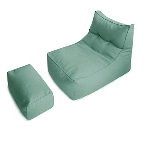 Classico Poltrona A Sacco Sedie Grande Divano Pigro Adulto Riempimento di Particelle di EPP (Color : Jasper, Size : Including footstools)