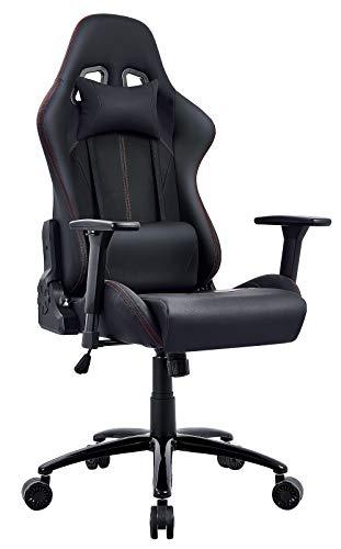Sedia da Gaming,Poltrona Sedia Ufficio Ergonomica regolabile braccioli con Pelle Poggiapiedie Massaggio Supporto Cuscino Lombare Sedie giocco PC Poltrona da Corsa (Nero)