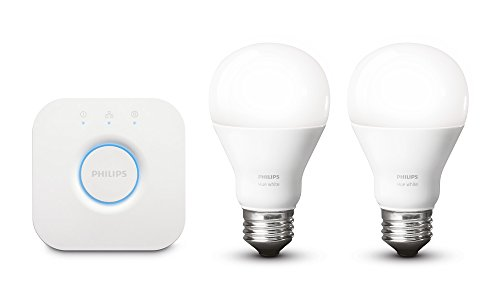 Philips Hue White A19 E27 60 W Equivalent Smart Bulb Starter Kit (2 Hue White bulbs and 2 Bridge, Compatible with Amazon Alexa, Apple HomeKit and Google Assistant)