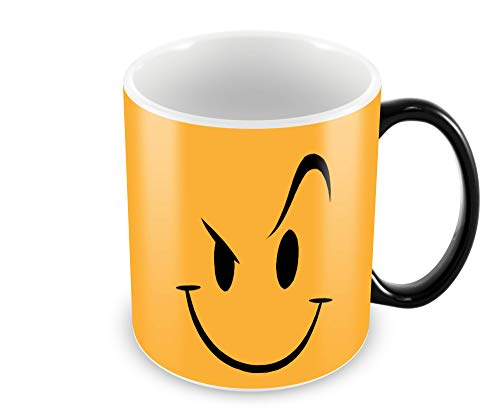 "Tuelip""Angry Smile"" Colour Changing Magic Printed for Tea & Coffee Ceramic Mug (300 ml, Black)"