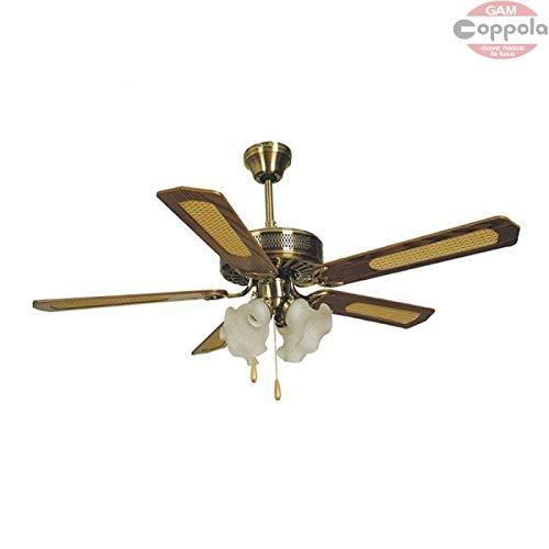 Ventilatore Agitatore da soffitto 5 Pale 4 Luci Tulipano Ottone MISURA TOTALE ESTERNA 132 CM. VINCO...