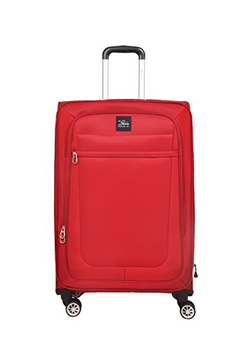 SKYWAY USA - Langford - Ultra Lightweight | Ergonomic Polyester | Carry on 4 Wheel Spinner | Expandable Bag (Upright, Soft Sided Suitcase with TSA Lock) (26 inch, Red)