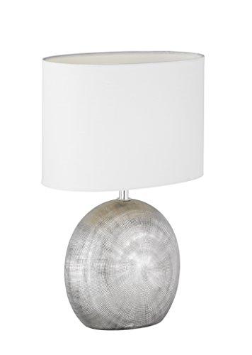WOFI Lámpara de Mesa E14, 40 W, Plata, 24 x 17 x 37 cm, brillo ajustable;sensor de movimiento, cerámica;tela