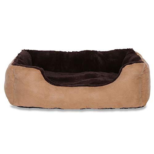 dibea DB00512, Letto per Cani, Divano morbido, Velluto, cuscino reversibile (L) 75 x 60 cm, marrone/beige