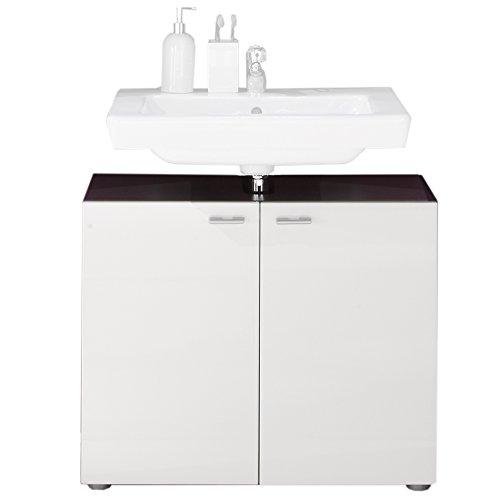 trendteam 1330-301-03 Waschbeckenunterschrank Tetis, 72 x 63 x 35 cm, graphit Nachbildung und Front in weiß Hochglanz