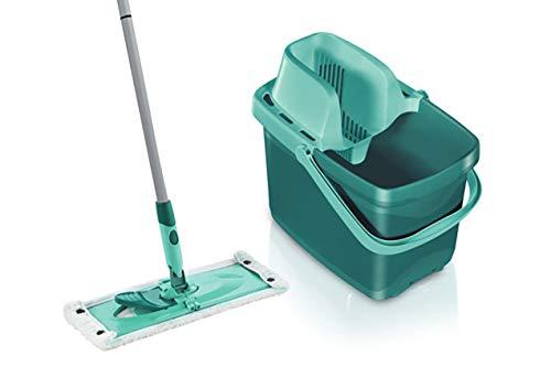 Leifheit Set Combi M micro duo mit rückenschonendem Wischer, Wischtuchpresse für effektives Auswringen, reinigungsstarker Bodenwischer