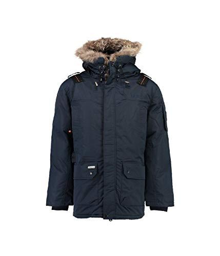 Geographical Norway Ametyste - Parka invernale da uomo, con cappuccio in pelliccia blu navy XXL