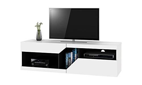 Selsey VIRGINIA - Mobile TV con Cassetti/Porta TV Moderna/Tavolino TV con Ripiani/Bianco con...