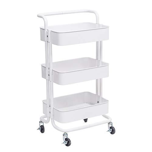WOLTU Küchenwagen Rollwagen Servierwagen Küchentrolley Metall Roll Regal für Küche Bad Büro mit Rollen 3 Etagen Weiß RW004ws