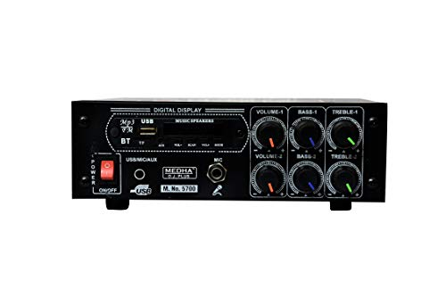 MEDHA D.J. PLUS 6000W PMPO Home Series Power Stereo (4 Way) Amplifier with Bluetooth,USB; Aux; FM and Mic Input -M.No.-5700