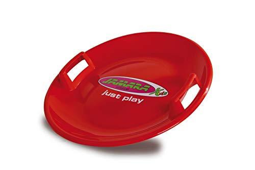 Jamara 460368 - Snow Play Rutschteller 60cm rot - Haltegriffe an beiden Seiten, langlebiger, robuster Kunststoffkörper, Coole Spaßmotive auf der Rutschschale, Leichtgewicht mit nur 555 g