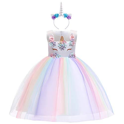 Costume da Unicorno con Corno Vestito Elegante da Ragazza Tutu Floreale Principessa Festa Cerimonia Carnevale Spettacolo di Compleanno Ballerina Abiti per Bambini per Fiore Gonna da Sposa 11-12 Anni