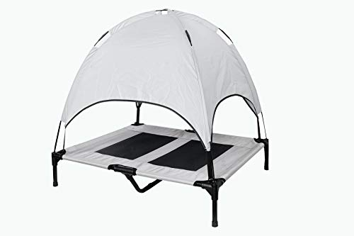 HighVel Elevated Pet Bed with Canopy, 1680D Oxford Material - Silver (Large)