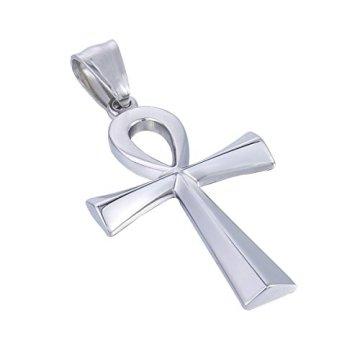 Trendsmax Hombres Mujeres Unisex Tono De Plata De Acero Inoxidable Egipcio Ankh Cruz De La Vida Egipto Símbolo Colgante Collar 11