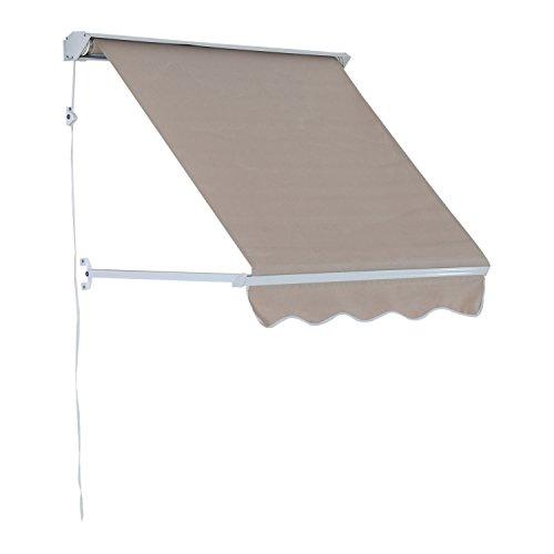 Outsunny Klemmmarkise Balkonmarkise Markise mit Faltarm Sonnenschutz Seilzug, Aluminium+Polyester, Grau/Beige, 122x70cm Modell2