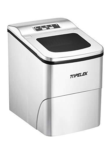 Machine a Glacons au Comptoir TOPELEK, Glace en 6 Min, 26 lbs/12 kg en 24 Hrs, Réservoir de 2L, 150W, Installation Non Nécessaire, Machine à Glace Electrique Compacte et Portative, calme moins de 45dB