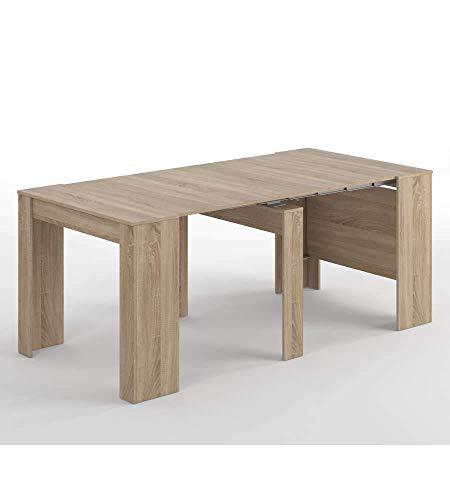 Habitdesign 004580F Tavolo Consolle Estensibile, 50 x 90 x 78 H cm, Rovere Spazzolato, Melamina,...