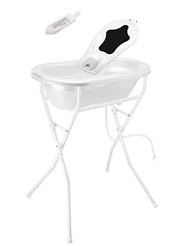 Rotho Babydesign Komplett-Badeset mit Wanne und Klapp-Ständer, 0-12 Monate, Weiß, TOP ideale Badelösung, 21036000101