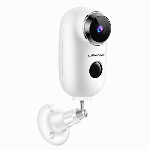 Lemnoi Telecamera di Videosorveglianza Batteria Wifi senza Fili, Telecamera batteria Wireless Interno e Esterno Full HD impermeabile IP65, Visione Notturna Audio Bidirezionale sensore di movimento
