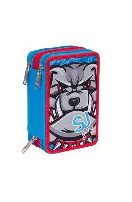 ASTUCCIO scuola SEVEN - SJ ANIMALS - 3 scomparti - pennarelli matite gomma ecc.. Blu Rosso
