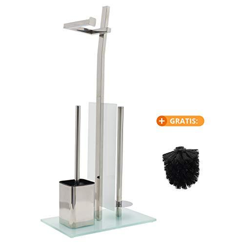 smartpeas WC-Garnitur mit Rollenhalter - Toilettenpapierhalter aus verchromtem Edelstahl - Fuß aus Glas - Maße: 32 x 20 x 70 cm - Einfache Montage - Klobürste zum Austauschen gratis!