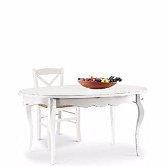 L'Aquila Design Arredamenti CLASSICO tavolo da pranzo Shabby Chic bianco ovale allungabile con intarsio 160×110 1289