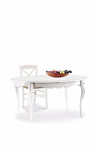 L'Aquila Design Arredamenti CLASSICO tavolo da pranzo Shabby Chic bianco ovale allungabile con...