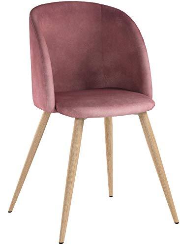 EGGREE Set di 2 Sedie da Pranzo in Velluto Vintage Poltrona Scandinave,Seduta e Schienale Imbottiti,Gambe in Metallo Stile Legno,Rosa
