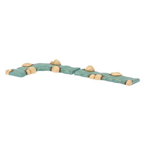 THUN - Set con 1 Pezzo di Fiume Dritto e 1 Curvo - Presepe Classico - Ceramica - 13x5,6 x2 cm h e 15x5,6 x2 cm h