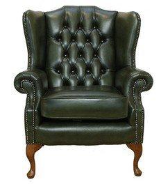 Designer Sofas4u Mallory Poltrona Chesterfield Queen Anne con poggiacapo e schienale alto, made in UK, colore: verde antico