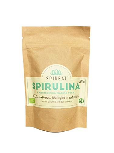 Spireat Spirulina pura 100% Italiana Biologica in formato Raw (non lavorata) confezione da 50g