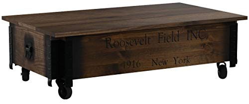 Tavolino basso, effetto baule, in legno, stile vintage shabby chic, in legno massello con finitura in noce