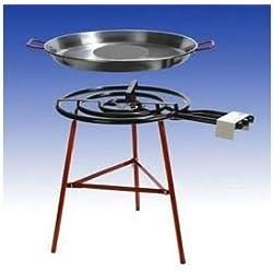"""'Paella barbecue set """"Almeria con 3padella per cucinare la paella, bruciatore a gas 60cm (24,5kW), 70cm, telaio rinforzato, incl. Tubo e riduttore di pressione"""