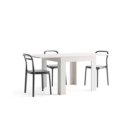 Mobili Fiver, Tavolo Allungabile, Eldorado, Frassino Bianco, 90 x 90 x 77 cm, Nobilitato, Made in...