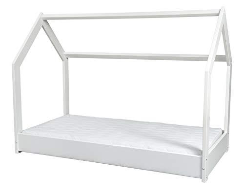 completo letto&casa+materasso ECO,stile scandinavo,legno,bambino 190x90cm (colore del letto: bianco)