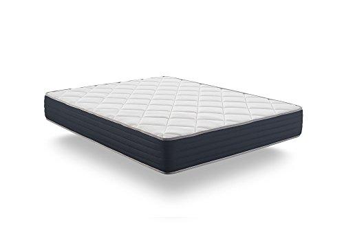 NATURALEX Matelas Supervisco - Mousse adaptative Blue Latex + mémoire de Forme THERMOSOFT Haut DE Gamme - 7 Zones de Confort, Hauteur 25 cm (140x190 cm MI-Ferme)