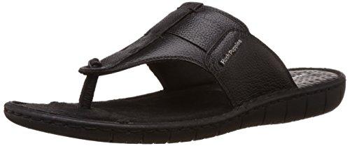 Hush Puppies Men's Sedan Thong Black Leather Flip Flops Thong Sandals - 10 UK/India (44 EU)(8746957)