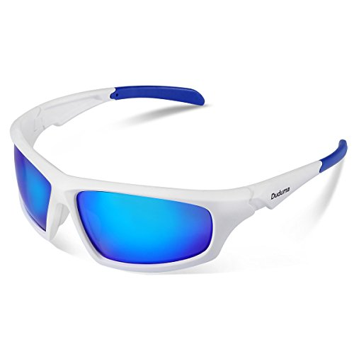Duduma Gafas de Sol Deportivas Polarizadas Para Hombre Perfectas Para Esquiar Golf Correr Ciclismo TR821 Súper Liviana Para Hombre y Para Mujer (639 marco blanco con lente azul)
