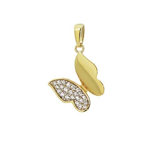 Nklaus 9250 Colgante de mariposa con circonita, oro amarillo 333 de 8 quilates, para mujer, 12 x 10 mm