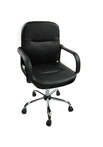 Piushopping Sedia da scrivania Poltrona ufficio con braccioli in eco Pelle nera direzionale regolabile Girevole Operativa ergonomica studio