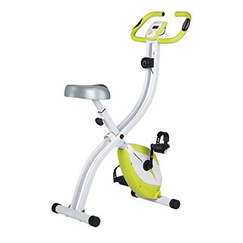 Ultrasport F-Bike 150 Bicicleta estática con sensores de pulso de mano, bicicleta fitness con consola y sensores de pulso en manillar, plegable, Verde