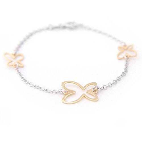 Pulsera de plata diseño cadena rolo con motivo mariposa bañada en oro.Cierre mosquetón.Longitud 15cm + 3cm con alargador ajustable